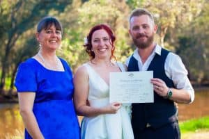 Perth marriage celebrant Ishara with a newly wedded couple