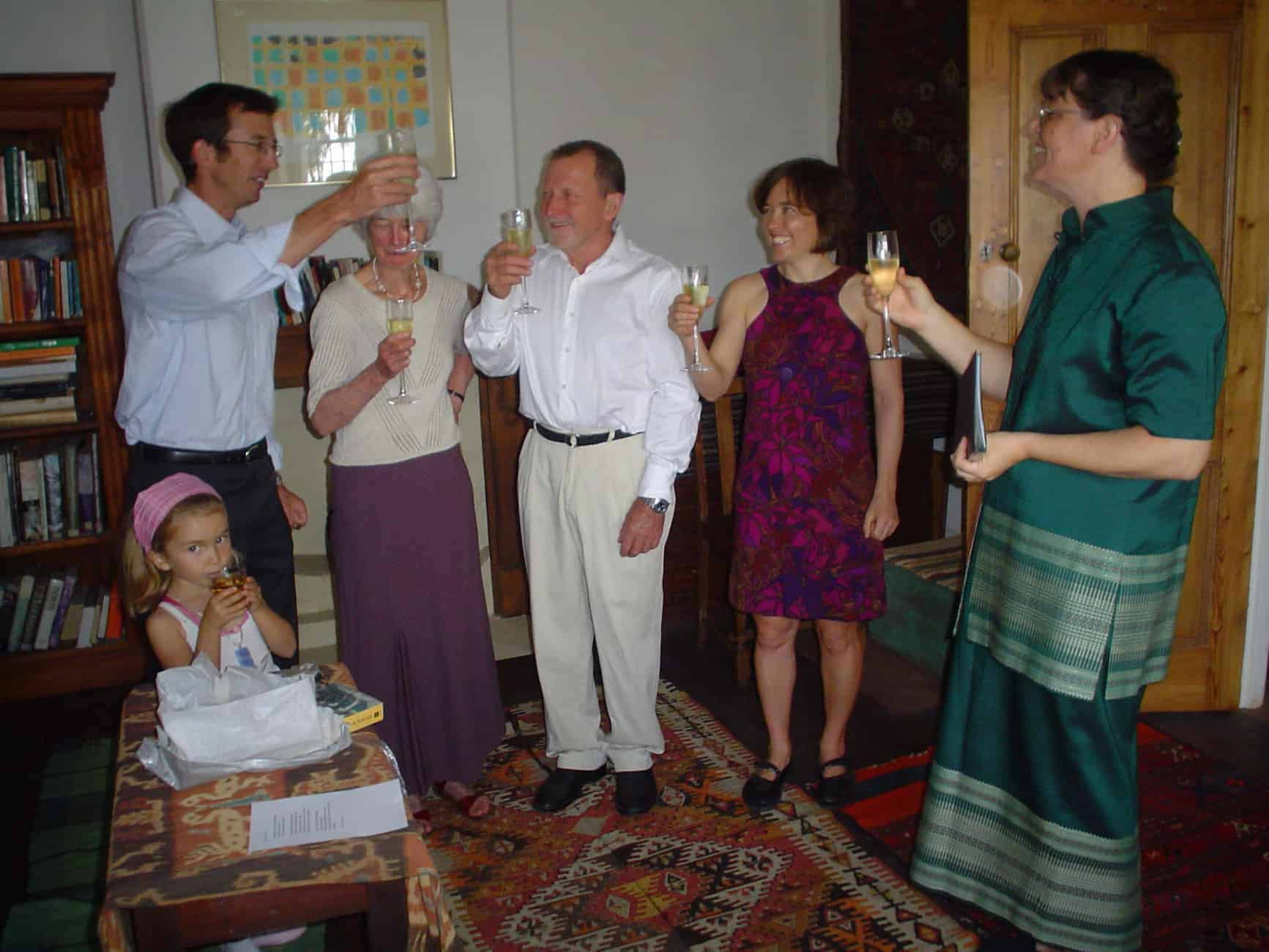 Drinking a toast to a couple newly remarried - to each other - after many years of living on opposite sides of the world.