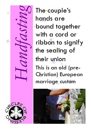 Handfasting is the symbolic tying or binding of the couples joined hands