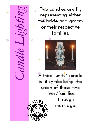 Lighting candles as a wedding ceremony ritual symbolising union of the couple