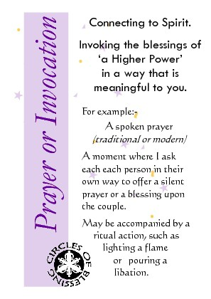 Prayer or invocation as elements of a wedding ceremony