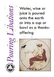 Pouring a libation as a ritual gesture of thanksgiving or prayer