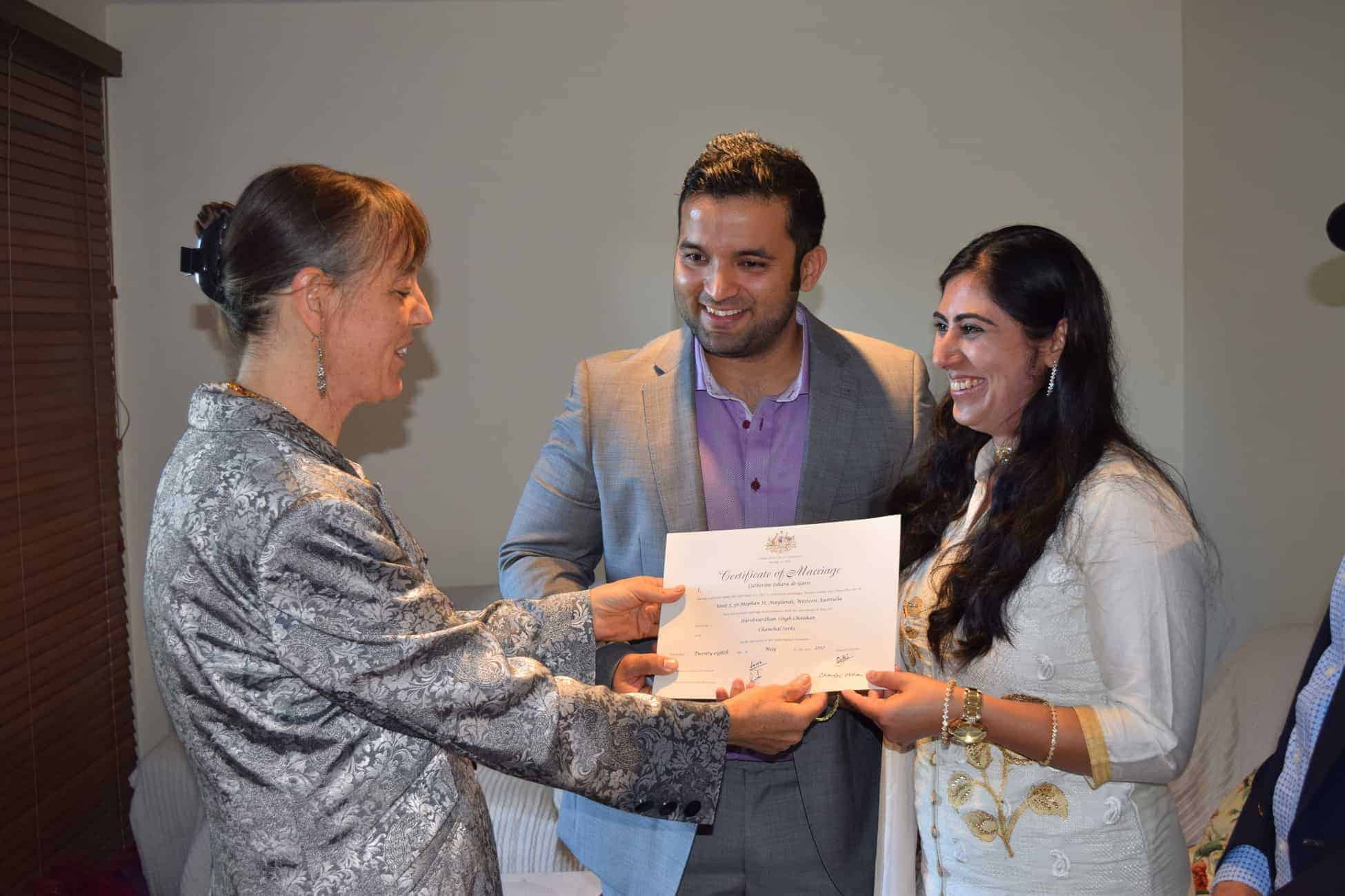 Bride and groom of Indian origin choose to marry with a civil celebrant in Perth Western Australia