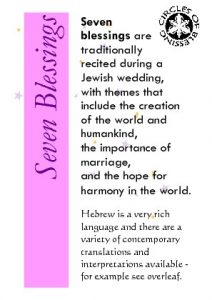 Seven blessings - traditional Jewish wedding prayer