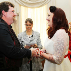 Couple make their wedding promises at a ceremony with Ishara de Garis as marriage celebrant