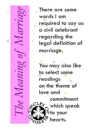 An explanation about the commitment being entered into at this wedding